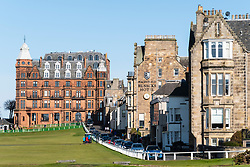 Exterior view of the Hamilton Grand apartment building and Rusacks Hotel on 18th Hole beside Old Course in St Andrews, Fife, Scotland, UK.