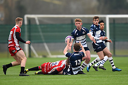 Matt Welsh (Clifton College) of Bristol Rugby Academy U18 offloads the ball to Josh Wright (Millfield School) of Bristol Rugby Academy U18 - Mandatory by-line: Paul Knight/JMP - 11/02/2017 - RUGBY - SGS Wise Campus - Bristol, England - Bristol Academy v Gloucester Academy - Premiership Rugby Academy U18 League