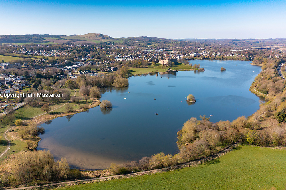 Aerial view of Linlithgow Loch in West Lothian, Scotland, Uk