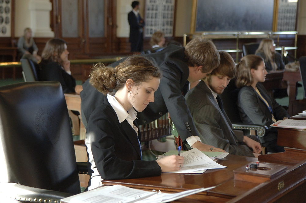 Texas high school students gather in the Senate Chambers in Austin at the annual YMCA Youth in Government sessions to craft, review and debate mock legislation important to Texas youth. Photos by Bob Daemmrich <br /> ©Bob Daemmrich/