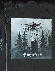"""Acrylic on leather by Worthless. Darkthrone """"Panzerfaust"""".<br /> See more works on leather here: https://wkimagery.photoshelter.com/gallery/Leather-Painted-By-Worthless/G0000afp86E8IZuo/C0000gL2He6QENyA"""