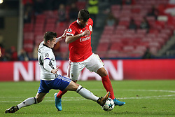 December 5, 2017 - Lisbon, Portugal - Benfica's Argentine defender Lisandro Lopez (R ) fights for the ball with Basel's midfielder Taulant Xhaka from Albania during the UEFA Champions League Group A football match between SL Benfica and FC Basel at the Luz stadium in Lisbon, Portugal on December 5, 2017. (Credit Image: © Pedro Fiuza/NurPhoto via ZUMA Press)