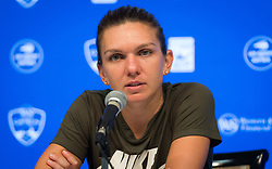 August 19, 2018 - Simona Halep of Romania talks to the media after the final of the 2018 Western & Southern Open WTA Premier 5 tennis tournament. Cincinnati, Ohio, USA. August 19th 2018. (Credit Image: © AFP7 via ZUMA Wire)
