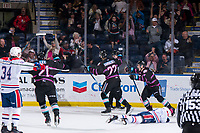 KELOWNA, BC - SEPTEMBER 21:  Dillon Hamaliuk #22 of the Kelowna Rockets celebrates the game winning goal at the end of overtime against the Spokane Chiefs at Prospera Place on September 21, 2019 in Kelowna, Canada. (Photo by Marissa Baecker/Shoot the Breeze)