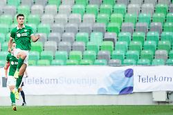 Rok Kronaveter #7 of Olimpija celebrates after scoring second goal for Olimpija during football match between NK Olimpija Ljubljana and NK Luka Koper in 5th Round of Prva liga Telekom Slovenije 2015/16, on August 12, 2015 in SRC Stozice, Ljubljana, Slovenia. Photo by Vid Ponikvar / Sportida