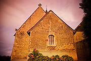 An old church at sunset, Loire Vallery area of France near Monfort