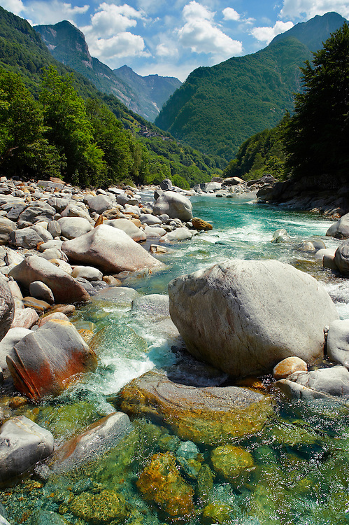 rocky alpine foothills stream in the remote valley of Val Verzasca, near lavertezzo , Ticino .<br /> <br /> Visit our SWITZERLAND  & ALPS PHOTO COLLECTIONS for more  photos  to browse of  download or buy as prints https://funkystock.photoshelter.com/gallery-collection/Pictures-Images-of-Switzerland-Photos-of-Swiss-Alps-Landmark-Sites/C0000DPgRJMSrQ3U