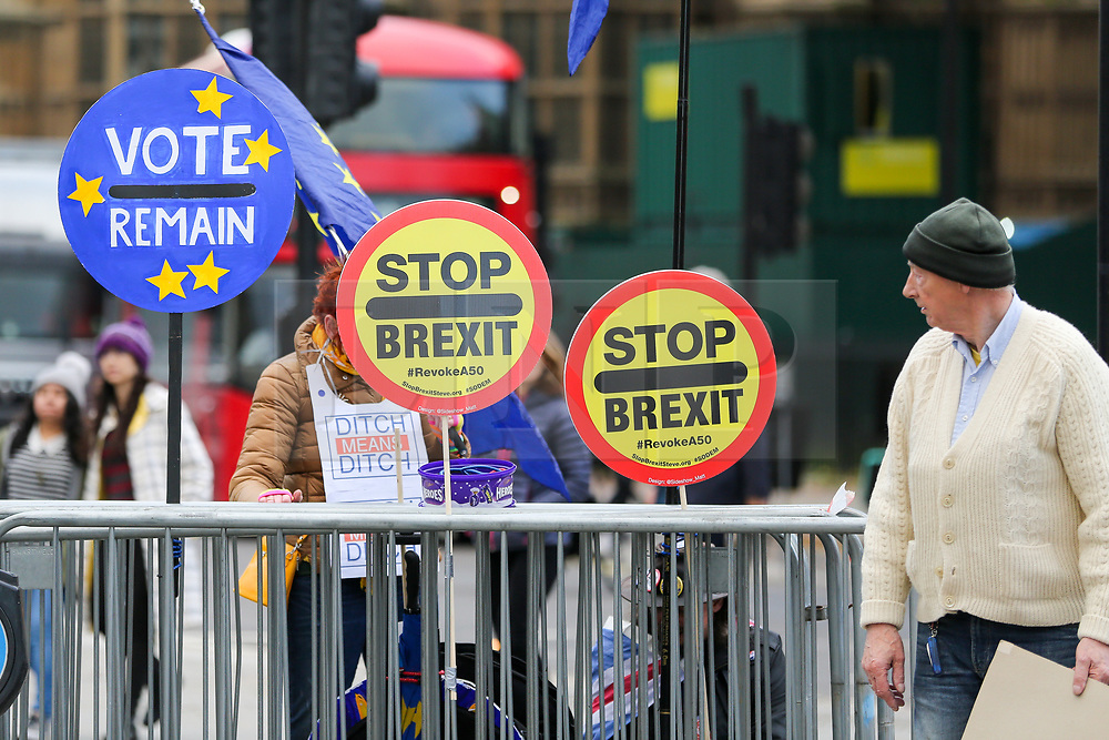 © Licensed to London News Pictures. 05/11/2019. London, UK. Anti-Brexit demonstrators protest outside the Houses of Parliament. EU has granted an extension until 31 January 2020 for the UK to leave the European Union. Photo credit: Dinendra Haria/LNP