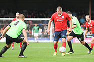 Jon Parkin of York City (9) holds the ball up during the Vanarama National League North match between York City and Curzon Ashton at Bootham Crescent, York, England on 18 August 2018.
