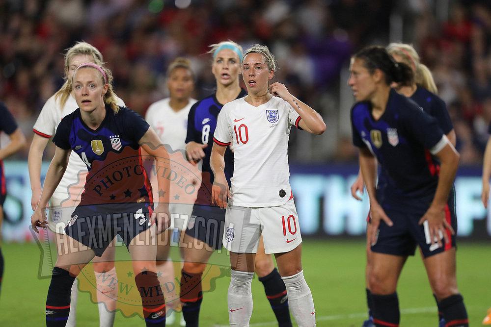 England midfielder Jordan Nobbs (10) is seen during the first match of the 2020 She Believes Cup soccer tournament at Exploria Stadium on 5 March 2020 in Orlando, Florida USA.