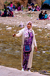 A woman takes a selfie in the Todra Gorge, Morocco<br /> <br /> (c) Andrew Wilson   Edinburgh Elite media