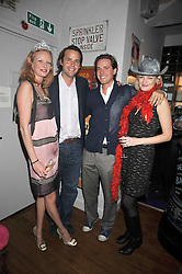 Left to right, OLIVIA INGE, CHARLIE GILKES, ALEX GILKES and ALEXIA INGE at a party to celebrate the opening of Barts, Sloane Ave, London on 26th February 2009.