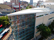 Aerial photograph of the Madison Museum of Contemporary Art, State Street, Madison, Wisconsin, USA.