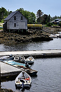 A lobster wharf at Cozy Harbor in Southport, Boothbay Harbor, Maine.