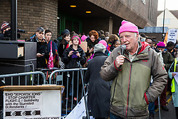 Chelmsford, UK. 6th February, 2019. A speaker from the Close Campsfield Campaign addresses activists from around the UK gathered to show solidarity with the Stansted 15 before their sentencing at Chelmsford Crown Court. The Stansted 15 were convicted on 10th December of an anti-terrorism offence under the Aviation and Maritime Security Act 1990 following non-violent direct action to try to prevent a Home Office deportation flight carrying precarious migrants to Nigeria, Ghana and Sierra Leone from taking off from Stansted airport in March 2017.