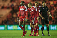 Albert Adomah (Middlesbrough) walks away having disagreed with the booking during the Sky Bet Championship match between Middlesbrough and Wolverhampton Wanderers at the Riverside Stadium, Middlesbrough, England on 4 March 2016. Photo by Mark P Doherty.