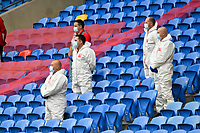 Football - 2020 / 2021 UEFA Nations League - Group B4 - Wales vs Bulgaria<br />      <br /> staff in protective overalls in the stand <br /> in a match played with no crowd due to Covid 19 coronavirus emergency regulations, in an almost empty ground, at the Cardiff City Stadium.<br /> <br /> COLORSPORT/WINSTON BYNORTH