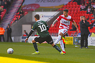 Danny Andrew of Doncaster Rovers (3) passes the ball during the EFL Sky Bet League 1 match between Doncaster Rovers and Plymouth Argyle at the Keepmoat Stadium, Doncaster, England on 13 April 2019.