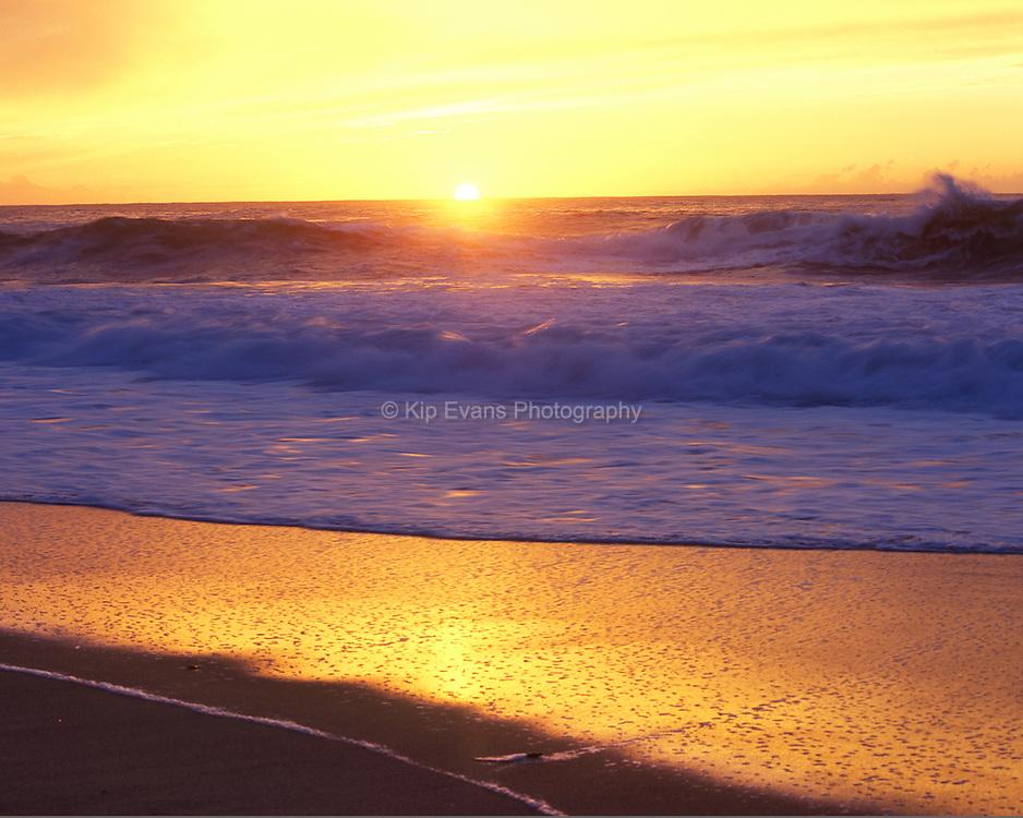 Sunset illuminates waves along the California coast.