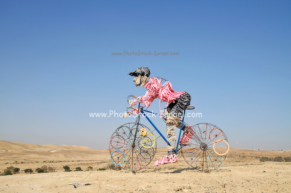 Cyclist statue in the Negev Desert, Israel with the pink Giro d'Italia shirt