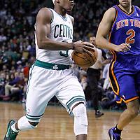 04 March 2012: Boston Celtics point guard Rajon Rondo (9) goes for the layup during the Boston Celtics 115-111 (OT) victory over the New York Knicks at the TD Garden, Boston, Massachusetts, USA.