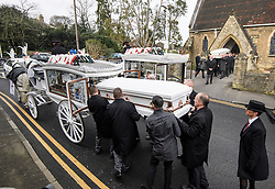 "© Licensed to London News Pictures. 14/02/2020. Sevenoaks, UK. The coffins and mourners leave St John the Baptist church in Sevenoaks, Kent following the funeral service of traveller brothers Billy and Joe Smith. The twin brothers, who were made famous by the television programme ""My Big Fat Gypsy Wedding"", were found hanged in woodland three days after Christmas. Photo credit: Ben Cawthra/LNP"