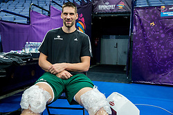 Gasper Vidmar of Slovenian National Basketball team after a training session ahead of the FIBA EuroBasket 2017 match between Slovenia and Poland at Hartwall Arena in Helsinki, Finland on August 30, 2017. Photo by Vid Ponikvar / Sportida