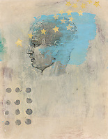 """Phrenology head with stars. Acrylic and Gel medium transfer on paper mixed medium art.<br /> :::<br /> """"Creativity seems to emerge from multiple experiences, coupled with a well-supported development of personal resources, including a sense of freedom to venture beyond the known.""""<br /> -Loris Malaguzzi"""