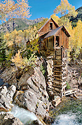 The Crystal Mill, aka Lost Horse Mill or Dead Horse Mill, located 5.5 miles from Marble, Colorado in the Elk Mountains. One of the most photographed scenes in the Rocky Mountains, especially during autumn when the aspens turn golden.