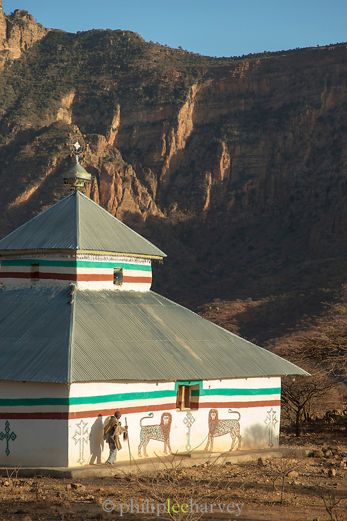 Modern Church at the foot of the mountains containing the church of Abune Yemata near Hawzen. Ethiopia, Horn of Africa