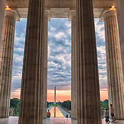 Dawn at the Lincoln Memorial on the National Mall in Washington, D.C.