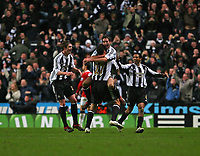Photo: Andrew Unwin.<br /> Newcastle United v Manchester United. The Barclays Premiership. 01/01/2007.<br /> Newcastle celebrate their second goal, scored by David Edgar.