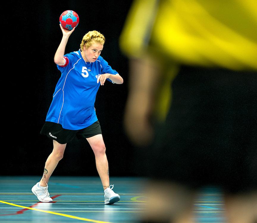 Nederland, Den Bosch, 02-06-2012.<br /> Special Olympics, Spelen voor geestelijk gehandicapten.<br /> Handbal, Gemengd. Aanvoerster.<br /> Foto : Klaas Jan van der Weij