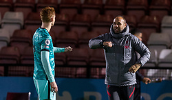 LONDON, ENGLAND - Friday, October 30, 2020: Liverpool's Under-23 coach Barry Lewtas (R) and Sepp Van Den Berg celebrate after the Premier League 2 Division 1 match between Arsenal FC Under-23's and Liverpool FC Under-23's at Meadow Park. Liverpool won 1-0. (Pic by David Rawcliffe/Propaganda)