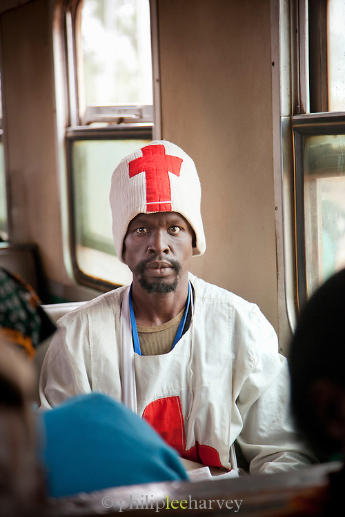 A passenger on the Kenyan Railways train from Mombasa to Nairobi, dubbed the Lunatic Express