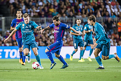 August 13, 2017 - Barcelona, Catalonia, Spain - FC Barcelona forward MESSI competes with Real Madrid midfielder KROOS for the ball during the Spanish Super Cup Final 1st leg between FC Barcelona and Real Madrid at the Camp Nou stadium in Barcelona (Credit Image: © Matthias Oesterle via ZUMA Wire)