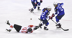 February 22, 2018 - Pyeongchang, South Korea - Canada's BLAYRE TURNBULL goes down in front of USA's KELLY PANNEK and LEE STECKLEIN in the first period of the Women's Gold Medal Ice Hockey game Thursday, February 22, 2018 at Gangneung Hockey Centre at the Pyeongchang Winter Olympic Games. Photo by Mark Reis, ZUMA Press/The Gazette (Credit Image: © Mark Reis via ZUMA Wire)
