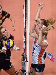 04-01-2016 TUR: European Olympic Qualification Tournament Nederland - Duitsland, Ankara <br /> De Nederlandse volleybalvrouwen hebben de eerste wedstrijd van het olympisch kwalificatietoernooi in Ankara niet kunnen winnen. Duitsland was met 3-2 te sterk (28-26, 22-25, 22-25, 25-20, 11-15) / Maret Balkestein-Grothues #6, Nicole Koolhaas #22, Margareta Anna Kozuch #14 of Germany