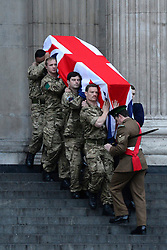 © Licensed to London News Pictures. 15/04/2013. London, UK The rehearsal coffin leaves St Paul's Cathedral. A full rehearsal of the funeral of former British Conservative Prime Minster Baroness Thatcher takes place in central London. Hundreds of members of the armed forces drawn from all three services took part in the practice in the early hours of 15th April 2013. Photo credit : Stephen Simpson/LNP