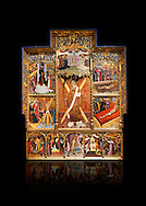 Gothic altarpiece dedicated to St Vincent by Bernat Martorell circa 1483-1440 in Barcelona, tempera and gold lef on wood from the Parish church of St Vincent of menarguens, Noguera, Spain. At the top of the central panels of the altar tryptic, replacing the traditional Calvery scene, can be seen in the centre the Virgin of Mercy and kneeling to the left is Sant Benet de Bages, in black, and to the right St. Bernard of Clairvaux, patron saint of thr Benedictine and Cistercian orders . Below this is a depiction of St Vincent and either side are scenes of the Mardom of Vincent. Along the bottom are scenes from the Passion of Christ, with Judas in a yellow tunic kissing Christ and a furious Peter cutting off the ear of Malcus. National Museum of Catalan Art (MNAC), Barcelona, Spain, inv 15797. Against a black background. . .<br /> <br /> If you prefer you can also buy from our ALAMY PHOTO LIBRARY  Collection visit : https://www.alamy.com/portfolio/paul-williams-funkystock/gothic-art-antiquities.html  Type -     MANAC    - into the LOWER SEARCH WITHIN GALLERY box. Refine search by adding background colour, place, museum etc<br /> <br /> Visit our MEDIEVAL GOTHIC ART PHOTO COLLECTIONS for more   photos  to download or buy as prints https://funkystock.photoshelter.com/gallery-collection/Medieval-Gothic-Art-Antiquities-Historic-Sites-Pictures-Images-of/C0000gZ8POl_DCqE