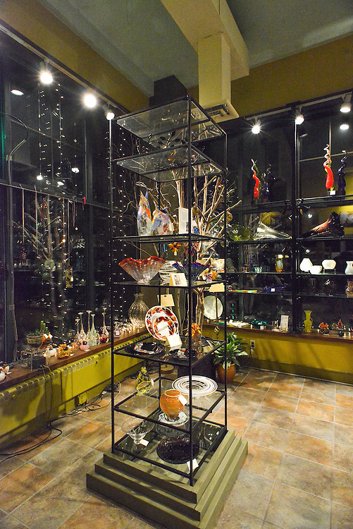 Displays of items for sale at Akron Glass Works.