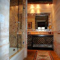 North America, United States, New Mexico, Taos. El Monte Sagrado eco-resort. Exquisite bathroom of the Argentina Suite.
