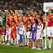 Galatasaray team players during their Turkish Superleague soccer derby match Besiktas between Galatasaray at the Inonu Stadium at Dolmabahce in Istanbul Turkey on Thursday, 26 August 2012. Photo by TURKPIX