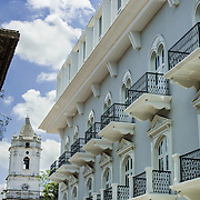Central America, Panama, Panama City <br /> Casco Vieja, Casco Viejo, Panama Vieja, Old Panama City basks in the tropical sun as a UNESCO World Heritage Site.