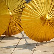 Golden parasols for novitiation ceremony