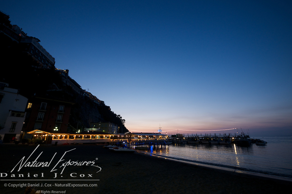 Dusk over the harbor. Sorrento, Italy
