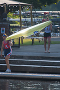 Henley-On-Thames, Berkshire, UK., Wednesday,  12/08/2020,  W2-, Athletes, Crews boating from Leander Club for training,  [ Mandatory Credit © Peter Spurrier/Intersport Images], , Training during, the  coronavirus (COVID-19), pandemic,