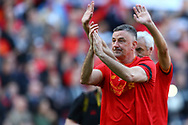 John Aldridge of Liverpool legends team shows his appreciation to the fans at the end of the game. Liverpool Legends  v Real Madrid Legends, Charity match for the LFC Foundation at the Anfield stadium in Liverpool, Merseyside on Saturday 25th March 2017.<br /> pic by Chris Stading, Andrew Orchard sports photography.