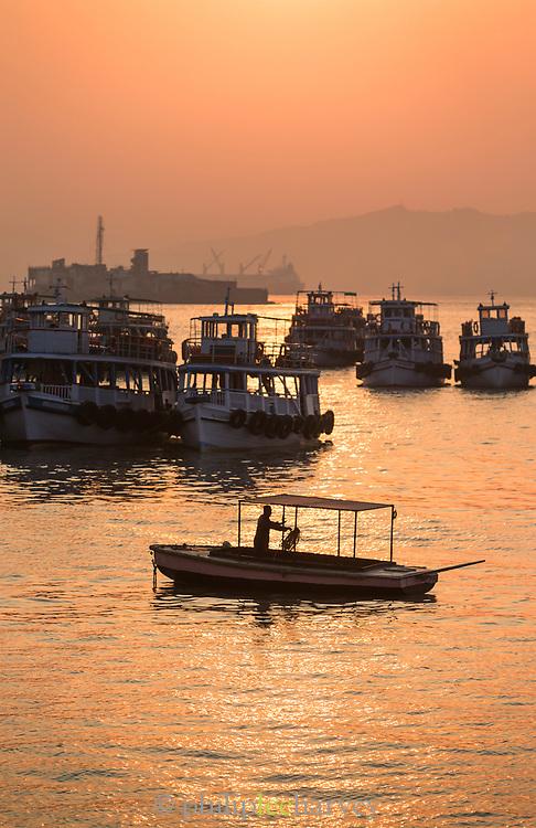 View of Mumbai Harbor at sunset, Mumbai, India