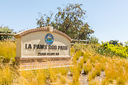 Stone Monument for La Paws Dog Park on Felipe Rd in Mission Viejo